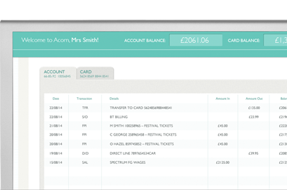 acorn account for business open in 24hrs online banking app